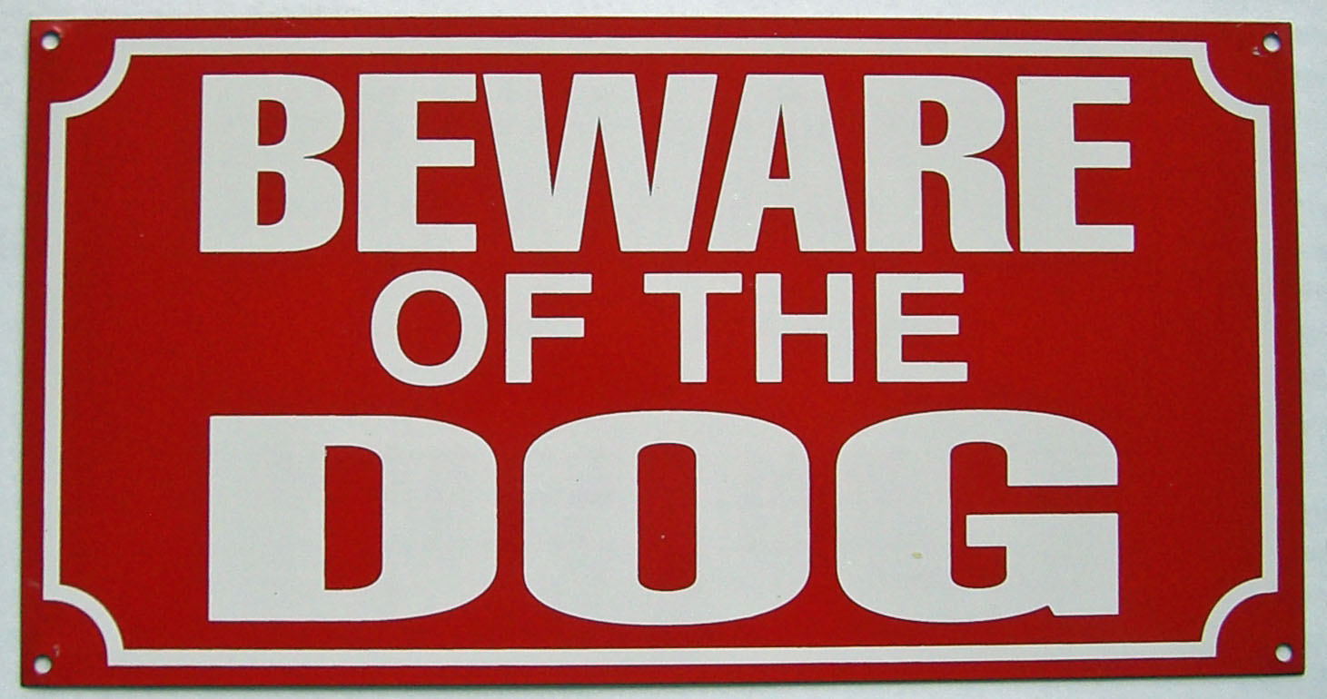 Beware Of The Dog Enamelled Steel Wall Sign 230mm X 120mm Dp